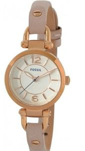 Fossil Ladies Georgia Watch Pink Leather Strap